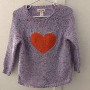 Cat and Jack Purple Heart Sweater 3T